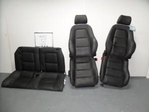 Audi TT 06 σέτ καθίσματα εμπρός-πίσω με airbag μαύρα (δερμάτινα-3 ταπετσαρίες)