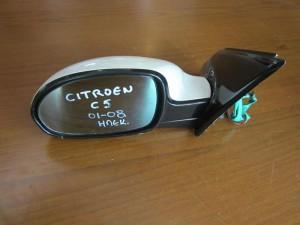 Citroen C5 2001-2008 ηλεκτρικός καθρέπτης αριστερός άσπρος (5 καλώδια-μαύρο γυαλιστερό πλαίσιο)