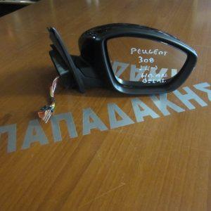 Peugeot 308 2014- καθρέπτης δεξιός ηλεκτρικός ανακλινόμενος φως ασφαλείας μαύρος