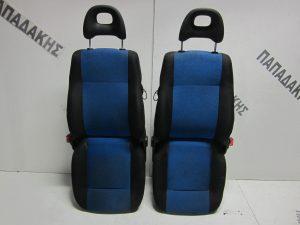Fiat Seicento 1998-2007 καθίσματα εμπρός ζεύγος αριστερό-δεξί μαύρο-μπλε