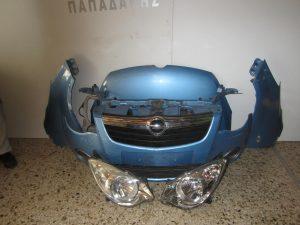 Opel Agila 2008-2014 μούρη γαλάζια: καπό- 2φτερά- 2 φανάρια- μετώπη κομπλέ με ψυγεία- προφυλακτήρας- μάσκα