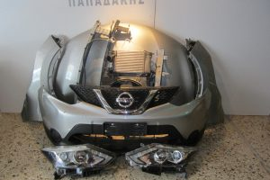 Nissan Qashqai 2013-2018 γκρι: καπό- 2 φτερά- 2 φανάρια- προφυλακτήρας- μάσκα- τραβέρσα άνω (καπού)- τραβέρσες προφυλακτήρα- ψυγείο νερού- ψυγείο A/C- intercooler- βεντιλατέρ
