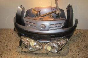 Nissan Pixo 2009-2014 μετώπη-μούρη γαλάζια: καπό- 2 φτερά- 2 φανάρια- προφυλακτήρας κομπλέ- ψυγείο νερού- ψυγείο A/C- βεντιλατέρ- τραβέρσα προφυλακτήρα- τραβέρσα καπού