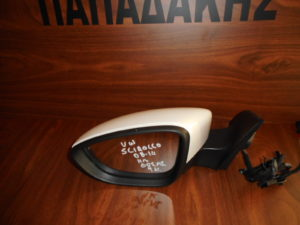 VW Scirocco 2008-2014 αριστερός καθρέπτης ηλεκτρικός άσπρος 9 καλώδια φως ασφαλείας